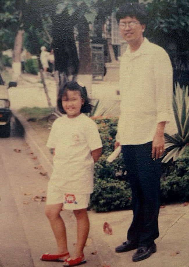 Eight-year-old Toni with her father on a site visit at Atty. Diploma's residence in Bel-Air, Makati, 1993 | Photo courtesy of Toni Vasquez