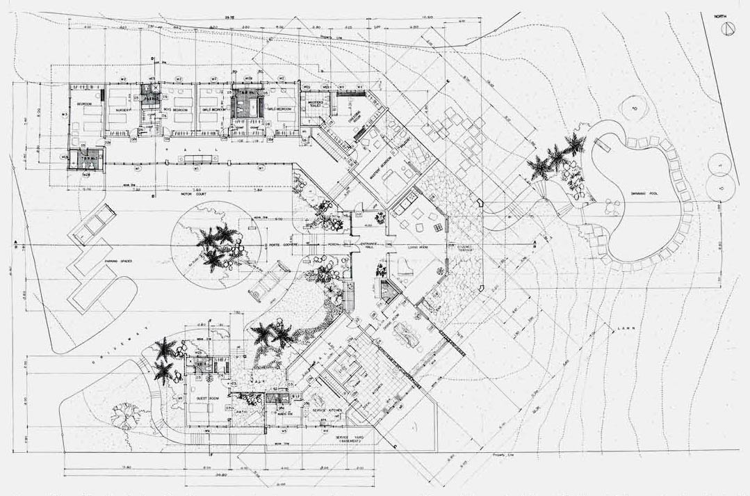 A scan of the original Locsin plan for the Emerson Coseteng House.
